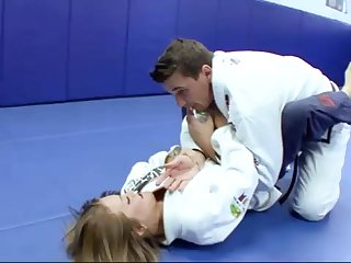 Ultra-Kinky Karate code of practice girls smashes with her trainer after a superb karate session