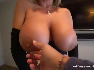 Her Boobs Juggle and She Guzzles Every Droplet