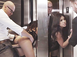 Sneaky GF cheating with her big-dicked VIP upon an elevator