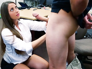 Shoplifter brunette gets fucked in the give of a pawn prove false