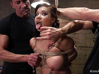 Big-Bosomed Asian bdsm coochie and rear shagged