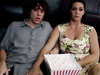 Horny milf touch chary stepson's dick in flick picture show