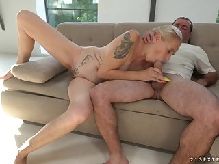 Tattooed granny slut fucked at the end of one's tether a super thick dick