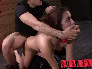 Submissive predestined up hoe Stella May has to give medial bastard a good blowjob