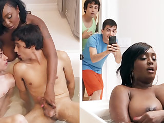 Black stepmom getting double-teamed hard by say no to stepsons