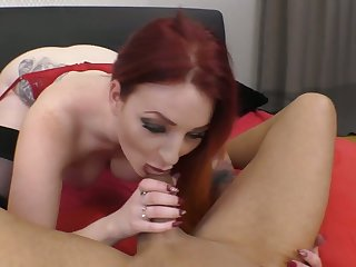 Full-bodied pale redhead Zara DuRose gives head right before topping dick