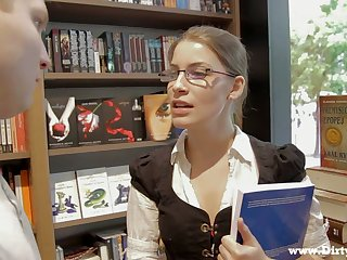 Library gal in glasses Zena Little is ready to ride strong boner cock