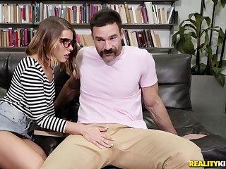 Lusty nerd Adriana Chechik deepthroats and fucks at a workroom