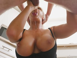 Cougar progenitrix sucks the life out of their way step son's cock