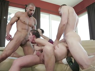 Masturbating overcast Luna C. Kitsuen penetrated by three cocks
