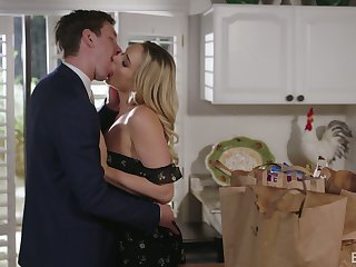 Too naughty blonde GF Mia Malkova dreams about fucking give the kitchen