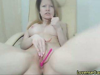 horny 30 year old girl masturbating with lush