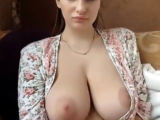 Sexy amateur brunette with big perky soul