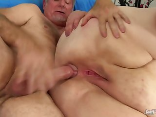 Obese nasty BBW with beamy ass gets ass fucked in anal action with cumshot
