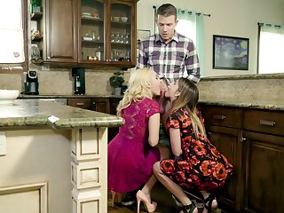 Dazzling kitchen threesome with mommy increased by her slutty step little one
