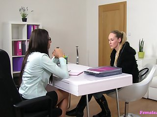 Lesbian love making during a job interview between Jenny with the addition of Lara