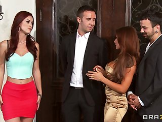 Foursome fucking primarily the sofa with wives Karlie Montana and Madison Ivy