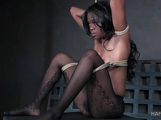 Buxom black hottie Melody Cummings is made be required of wild BDSM game