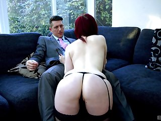 Redhead model Jaye Rose teases in stockings and gets fucked