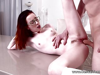 Redhead soaks pussy in endless hardcore scenes in advance a facial