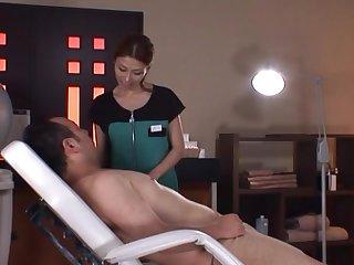 Messy facial ending for cock stimulated Japanese girl Akari Asahina
