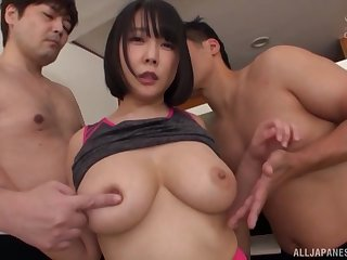 Natural tits Japanese girl Hanyuu Arisa gets pleasured by 2 guys