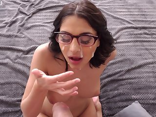 Nerdy generalized creams glasses after POV BJ