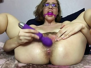 Mary Uses a Ball Gag together with Squirts like a Brooklet