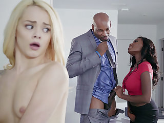 Housewife and spouse almost BIG BLACK COCK poke nubile blondie