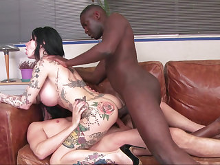 Interracial DP be advantageous to an inked-up slut